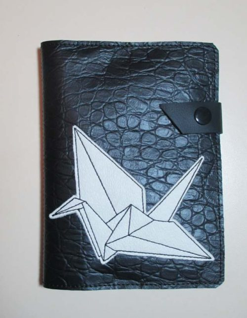 Leather journal cover with leather origami crane © Suzan Houston Bessie Hyde Leather Works