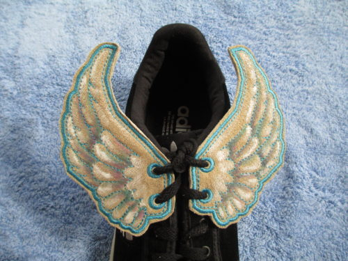Hand painted suede leather shoe wings. ©Suzan Houston Bessie Hyde Leather Works